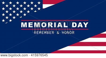 Happy Memorial Day Banner. National American Holiday. American Flag. Vector Background.