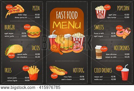 Fast Food Menu. Pizza, Burger And Tacos, Fries. Hot Dog, Sweets And Popcorn, Cola. Snack Restaurant