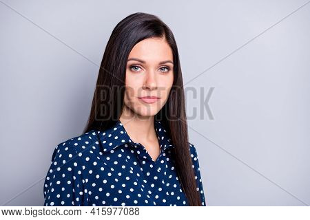 Photo Of Strict Brunette Girl Wear Blue Blouse Isolated On Grey Color Background