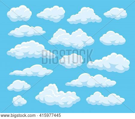 Cartoon Clouds. Blue Cloudy Sky With White Floating Fluffy Cloud Shapes. 2d Game, Atmospheric Vector