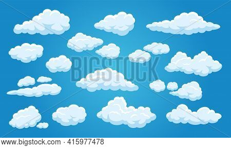 White Cartoon Clouds. Cute Cloudy Blue Sky 2d Game Comic Elements, Heaven Summer Weather Background