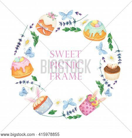 Picnic Round Background. Watercolor Dessert Wreath. Bunny Cupcake Easter Cake
