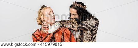 Hispanic King In Medieval Clothing Choking Queen In Golden Crown Isolated On White, Banner.