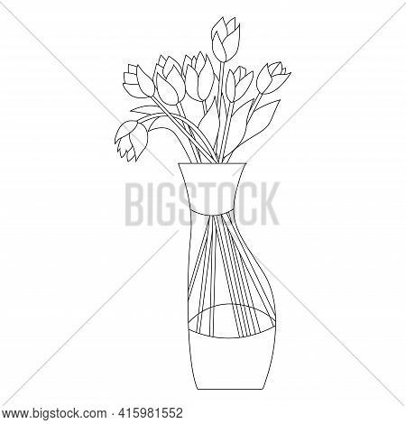 Beautiful Vase With Tulips Doodle. Floral Vase In Hand Drawn Style. Blooming Spring Flowers Coloring