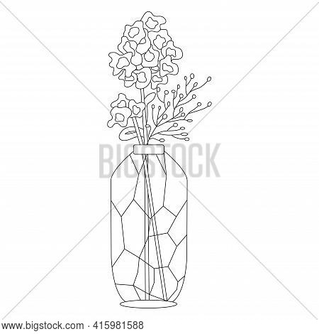 Flowers In Glass Vase Doodle. Floral Vase. Blooming Spring Flowers In Hand Drawn Style. Small Flower