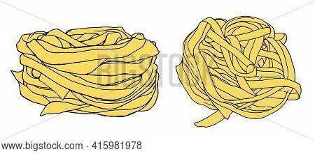 Pasta Fettuccine Vector Illustration - Hand Drawn - Out Line.fettuccine Pasta Noodles Vector Illustr