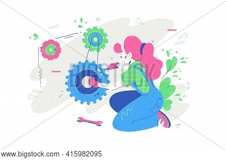 Woman Repair Something With Tool Vector Illustration. Handy Female Using Equipment For Fixing Mechan