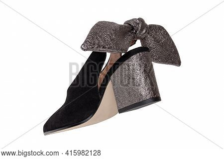 Womens Boots And Shoes. Closeup Of A Single Elegant Female Suede High-heeled Shoe Decorated With Sil