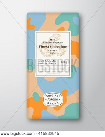 Nuts Chocolate Label Abstract Shapes Vector Packaging Design Layout With Realistic Shadows. Modern T