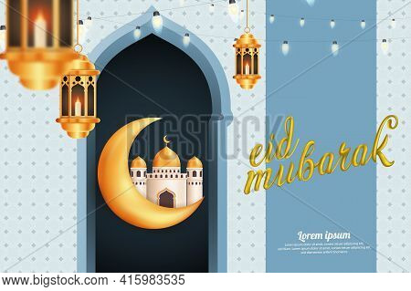 Crescent Moon With Mosque And Lantern, Eid Mubarak Greetings