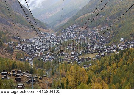 Zermatt, Switzerland-october 21, 2019:view Of The Old Building On Furi Cable Car Station In Autumn A