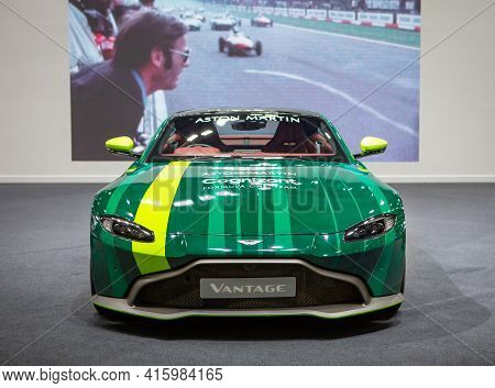 Bangkok, Thailand - April 4, 2021: Supercar Aston Martin Vantage Cognizant Formula One Team Exhibite