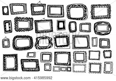 Paper Art Rectangular Frame Doodle Set For Decoration Design. Hand Drawn Illustration. A Set Of Vect