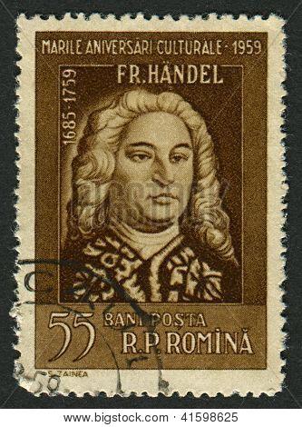 ROMANIA - CIRCA 1959: Postage stamps printed in Romania dedicated to George Frideric Handel (1685-1759),  German-born British composer, circa 1959.