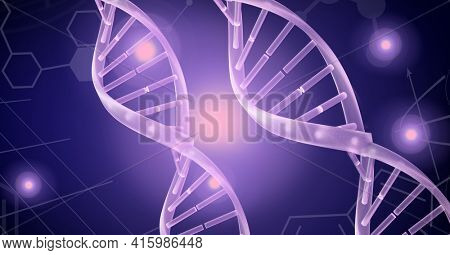 Dna structure and chemical structures against spots of light on purple background. medical research and technology concept