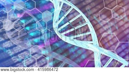 Dna structure and chemical structures against stock market data processing. global finance and medical research technology concept