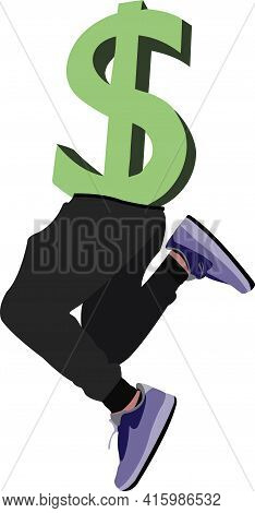 Dollar Sign With Cha Legs Jumping Dollar Sign With Cha Legs Jumping