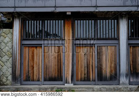 Old Traditional Japanese Door Interior Style.wooden Japanese Door In Rural Area In Japanese Local Vi