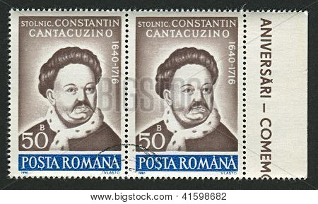ROMANIA - CIRCA 1990: Postage stamps printed in Romania dedicated to Constantin Cantacuzino (1640-1716), Romanian nobleman and historian, circa 1990.