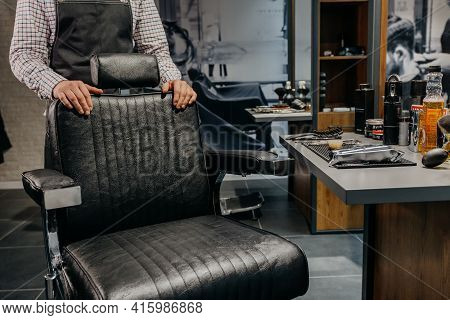 Barber Waiting Client Near Chair. Barbershop Service. Hairdresser Tools. Selective Focus