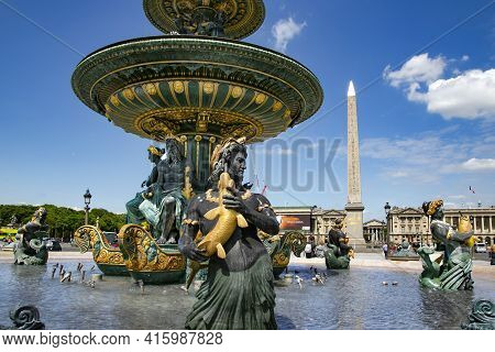 France, Paris, May, 2015 - Maritime Fountain Located In The Place De La Concorde Square With Luxor O