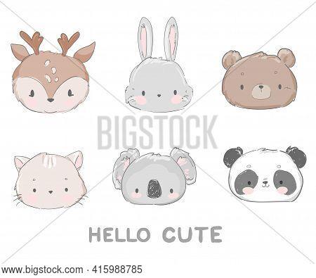 Cute Set Animal Vector Illustration, Bear, Cat, Bunny, Koala, Panda Deer Kids Trend Print
