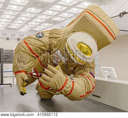 Moscow, Russia - November 28, 2018: Russian astronaut spacesuit in Space museum. Inside The Cosmonautics and Aviation Centre in the Cosmos pavilion of VDNH. Aircraft exhibition. Rocket science