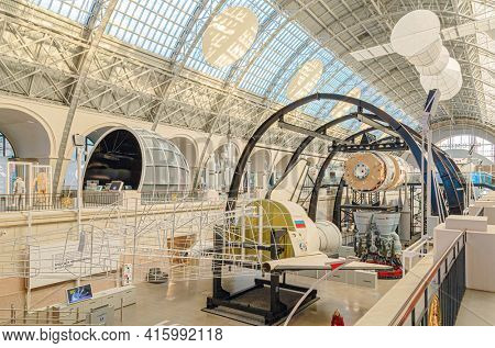 Moscow, Russia - November 28, 2018: Space museum. Inside The Cosmonautics and Aviation Centre in the Cosmos pavilion of VDNH. Aircraft exhibition. Rocket science