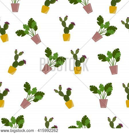 Seamless Pattern Green Plants In Pots Cactus With Flower And Ficus. Vector.