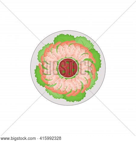 Boiled Shrimp On A Round Plate With Lettuce Leaves, Red Tomato Sauce And Cilantro. A Dish Of Mediter