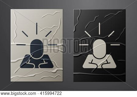 White Depression And Frustration Icon Isolated On Crumpled Paper Background. Man In Depressive State