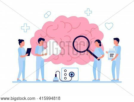 Diagnostic Checkup Of Brain Health By Doctor. Doctors Doing Medical Research, Examination, Check Hea