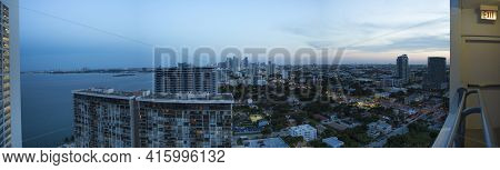 Miami, Fl, August 21: Panoramic Skyline Of Downtown Miami During Sunset Photographed From A Resident