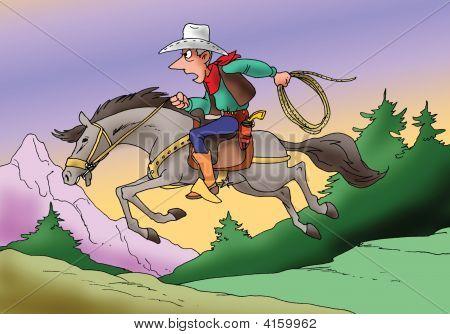Cowboy Riding Down The Hills