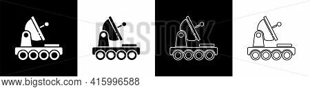 Set Mars Rover Icon Isolated On Black And White Background. Space Rover. Moonwalker Sign. Apparatus
