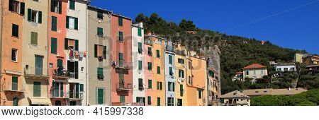 Landscape Of A Typical Ligurian Town During Summer, Five Lands, Italy, Five Lands, Italy. High Quali