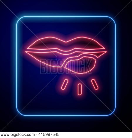 Glowing Neon Herpes Lip Icon Isolated On Blue Background. Herpes Simplex Virus. Labial Infection Inf