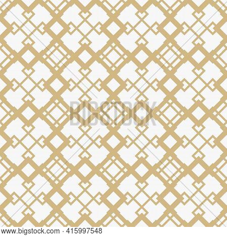 Golden Diamond Grid Vector Seamless Pattern. Abstract Geometric Texture With Diagonal Lines, Rhombus