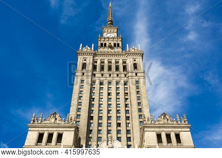 Warsaw, Poland - 20/09/2013: Palace Of Culture And Science In Warsaw, Poland. The Symbol Of Communis