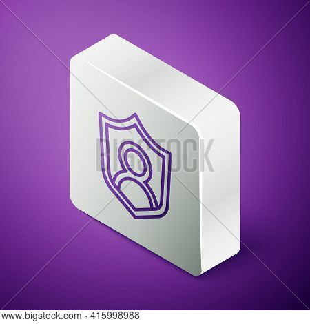 Isometric Line User Protection Icon Isolated On Purple Background. Secure User Login, Password Prote