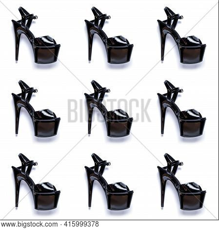 Seamless Fashion Pattern With Women's Black High-heeled Strips Shoes.  Female Sneakers With Very Hig