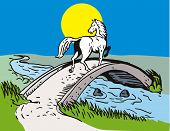 Illustration of a Horse Crossing Bridge with sun in the background poster