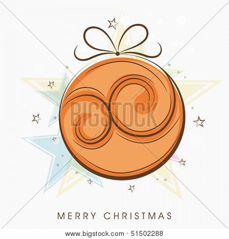 Merry Christmas celebration concept with Xmas ball on creative colorful background. poster