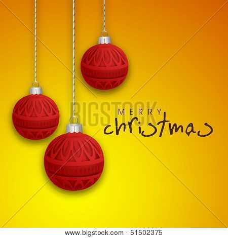 Colorful decorated hanging Xmas balls on shiny yellow background for Merry Christmas celebration.  poster
