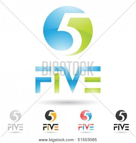 poster of vector illustration of colorful and abstract icons for no five