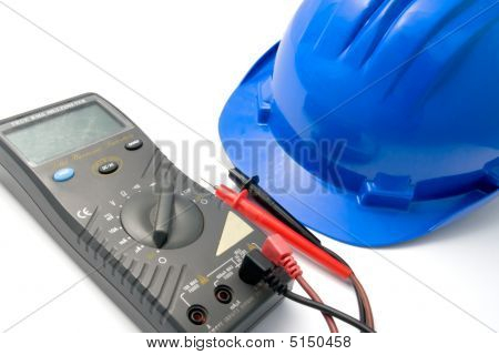 Helmet And Multimeter Isolated