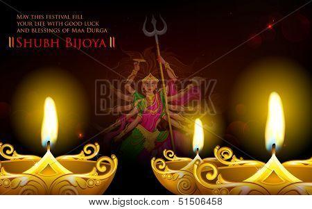 illustration of goddess Durga in Subho Bijoya (Happy Dussehra) Holiday background