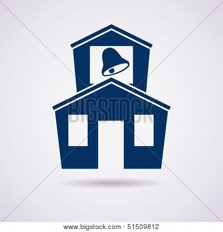 Vector Icon Of School Building
