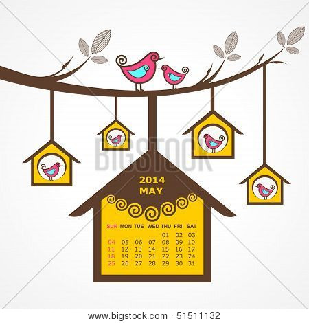 Calendar of May 2014 with birds sit on branch stock vector