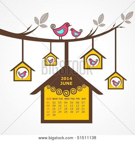 Calendar of June 2014 with birds sit on branch stock vector